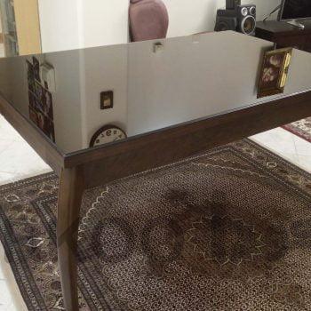 شیشه رومیز میز چوبی